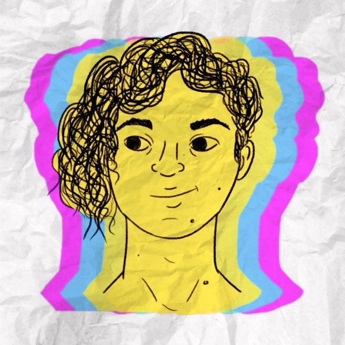A digitally drawn sketch of a human with a curly undercut. The picture has overlapping shading in bright yellow, bright blue and bright purple.