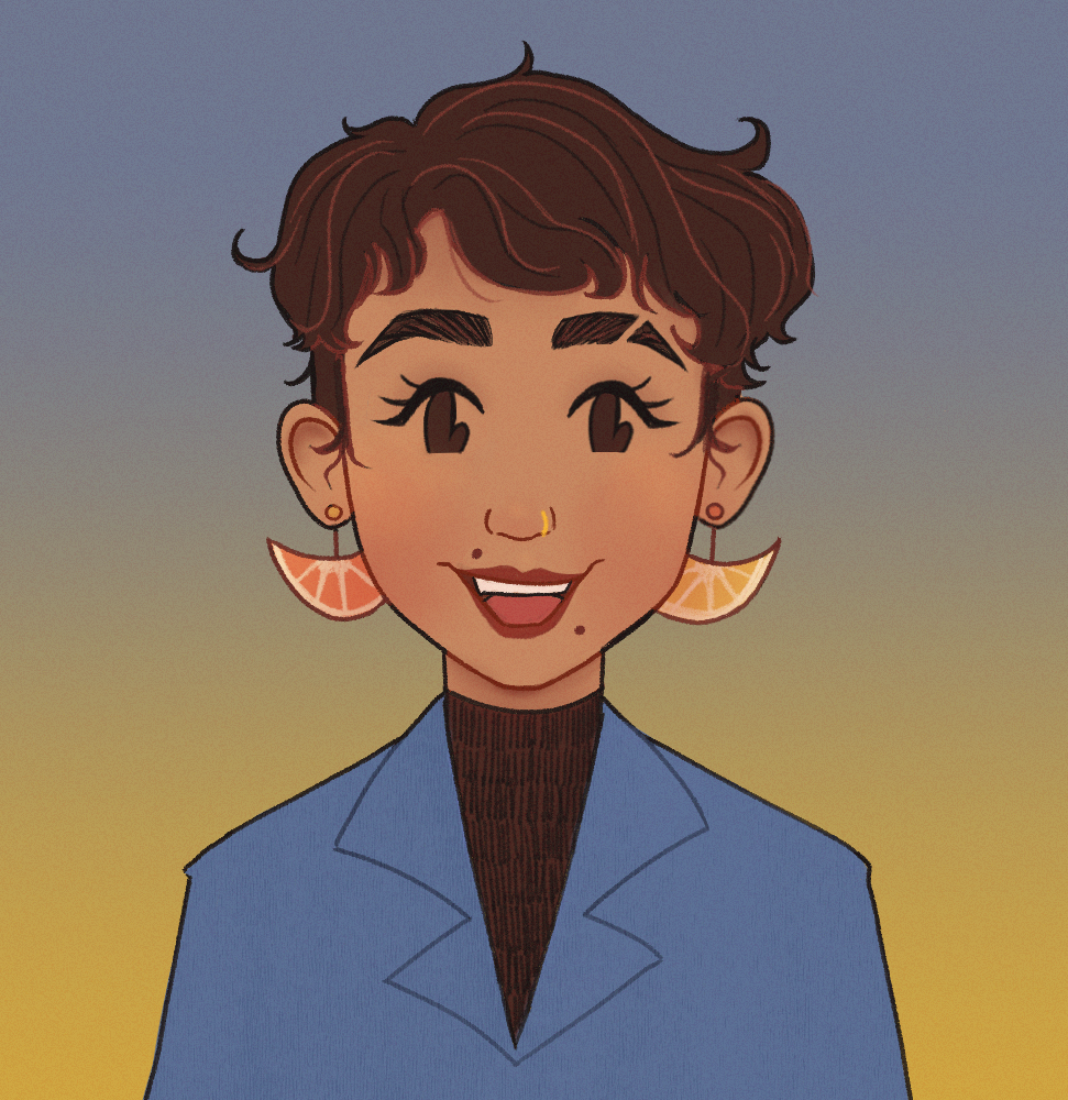 A digitally drawn image of a short haired human with short dark brown hair and brown eyes. They are wearing orange slice earrings.